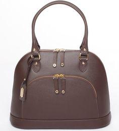 Ledertasche Windsor - braun - handgefertigt Handtasche Tasche mit 2 Handgriffen, Umhängetasche Schultertasche dunkelbraun espresso nerzbraun...