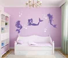 Mermaid wall Decals - Mermaid Wall Decal Mermaids and Bubbles Girl Wall Decoration Baby Room Decal Nursery Wall Decal Vinyl Sticker Mermaid Wall Decor.