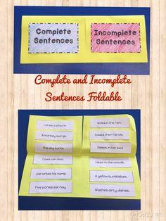 Complete & Incomplete Sentences Foldable and Activities 2nd Grade Grammar, Second Grade Writing, 2nd Grade Ela, Third Grade, School Resources, Classroom Resources, Teaching Resources, Teaching Ideas, Classroom Ideas