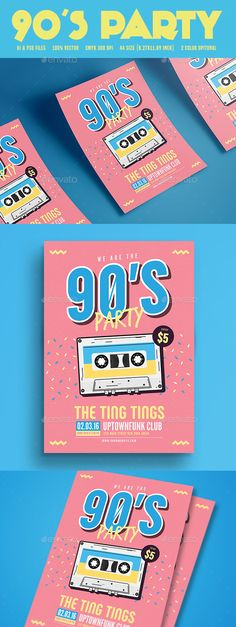90's Music Party — Photoshop PSD #pop #8.27x11.69 • Download ➝ https://graphicriver.net/item/90s-music-party/19502877?ref=pxcr