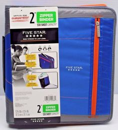 "Five Star Xpanz 2"" Zipper Binder Blue 530 Sheet Capacity Removable File Folders #Mead"