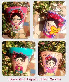 Macetas Frida pintadas a mano Espacio María Eugenia - Home Showroom de Arq. María Carolina Castillo