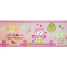 Diseño con dibujos de buhos rosa en esta cenefa de la colección Coconet de Dandino.