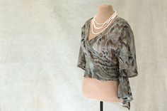 Silk Chiffon Wrap Blouse Cropped Elbow Length by MulberryWhisper