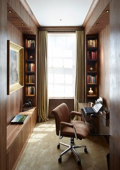 Smart and Efficient Small Space - by Todhunter Earle Interiors; long solid desk top; built-in bookcases