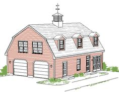 garage/shop barn style with living space | Gambrel Garage with 2 BR Apartment over