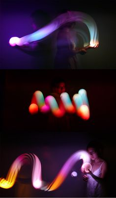 FLIP Color Changing Lamp by NONdesigns. Playing with a FLIP light enables the user to find any color in the spectrum of light by simply rolling it, tossing it and spinning it.