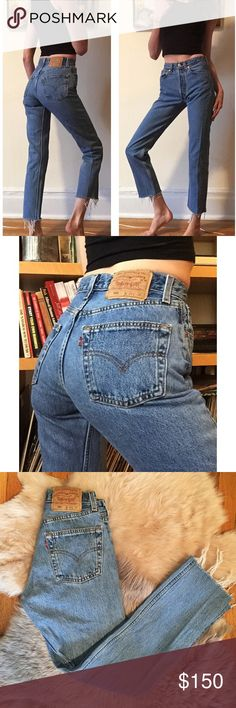 """🎃Vintage 501 Medium Wash Levi's 24🎃 Amazing and GORGEOUS medium wash vintage 501 Levi's! 24"""" waist, 10.5"""" rise, 29"""" inseam! Great quality denim and these actually hug your butt! They have awesome vintage wear and fading! No holes! Upon purchase, I can cut off and fray the hem to any measurement if you'd like. Seriously BEAUTIFUL jeans!! Always cheaper on ♏️! Levi's Jeans"""