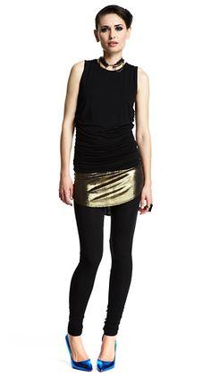 Riller & Fount   Marion Top in Black with Noho Skirt-Leggings in Bronze/Black