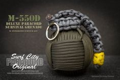 The is the ultimate in paracord survival products for preppers. Modeled after the famed hand grenade, the features over of 550 paracord in your choice of colors. Inside is a water tight case containing a variety of survival equipment. Survival Items, Survival Equipment, Survival Tools, Survival Prepping, Survival Stuff, Survival Gadgets, Surf City Paracord, Camouflage, Rope Knots