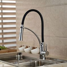 Black and Chrome Finish Kitchen Sink Faucet Deck Mount Pull Out Dual Sprayer Nozzle Hot and Cold kitchen faucet