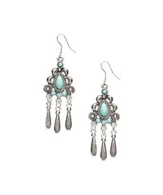 Look what I found on #zulily! Silvertone & Turquoise Chandelier Earrings #zulilyfinds
