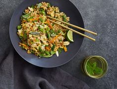 "A perfect Friday night meal, you can throw ""everything but the kitchen sink"" (meaning whatever leftover veggies you happen to have in the fridge) into this fried rice and it will taste awesome."