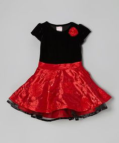 Take a look at this Black & Red Floral Shimmer Dress - Girls by Nannette on #zulily today!
