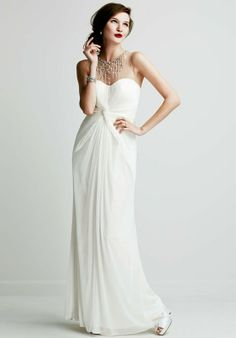 Long Mesh Dress with Illusion Beaded Neckline