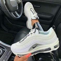 Nike Air Max 97 white and grey women sneakers. Cute Nike Shoes, Cute Sneakers, Nike Air Shoes, Sneakers Nike, Adidas Shoes, Vans Shoes Women, Yeezy Sneakers, Nike Trainers, Sneakers Women