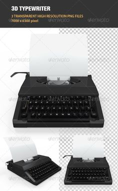 3 high quality renders of typewriter with 70006300 pixel resolution. Files included: 3 png files without background.