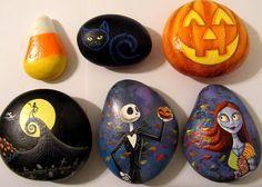 Halloween painted rocks - pumpkin - black cat - candy corn...