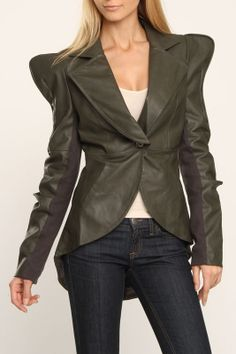 Nuvula Ravishing Retro Faux Leather Jacket In Army - Beyond the Rack