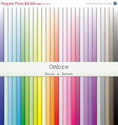 50% SALE Ombre Digital Paper  - 28 Sheets - Digital Scrapbooking Paper -  12x12, 8.5x11, A4 Commercial Use - Instant Download - Rainbow R230