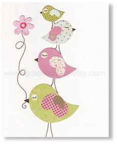 Pépinière vert et rose - childrens art imprimé - enfants chambre décor - décor de chambre de filles - pépinière oiseau - enfants oiseau - enfants art - Douceurs