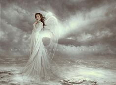 Angel in a wedding dress #beautiful #art #fantasy #angels