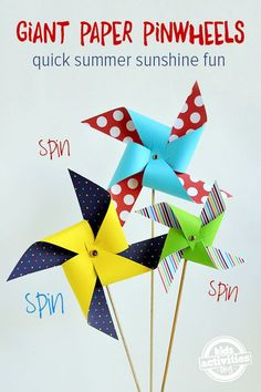 Quick 'n Easy Giant Paper Pinwheels {Free Template} Summer Crafting Fun With The Kids | MollyMooCrafts.com for #kidsactivitiesblog
