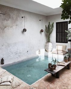 Square, rectangular… why does a small pool have everything it needs to be big? - Elle Decoration - A small riad-style pool Found on Elle Décoration - Building A Swimming Pool, Small Swimming Pools, Small Backyard Pools, Small Pools, Swimming Pool Designs, Indoor Swimming, Lap Pools, Indoor Pools, Small Backyards