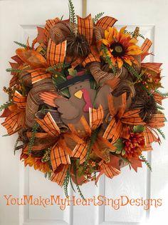 Metal turkey Thanksgiving Fall Turkey wreath Tom Turkey front door wreath Burlap wreath