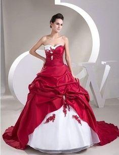 Robe de mariee rouge noir et blanc