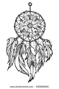 Hand drawn Native American Indian talisman dreamcatcher with feathers. Vector hipster illustration isolated on white. Ethnic design, boho chic, tribal symbol. Coloring book for adults.