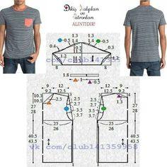 "S/M ve L / XL beden erkek tshirt kalıbı. Hep hanımlara, hem hanımlara, olmuy… Mens T-shirt pattern S / M and L / XL sizes. A little bit … "" Mens Shirt Pattern, T Shirt Sewing Pattern, Mens Sewing Patterns, Clothing Patterns, Sewing Shirts, Sewing Clothes, Gents Shirts, Le Polo, Mens Sweatpants"