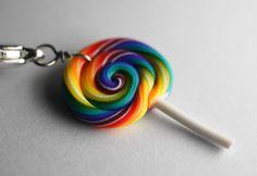 Rainbow Lollipop Charm, Miniature Food Jewelry, polymer Clay Food Charm via Etsy