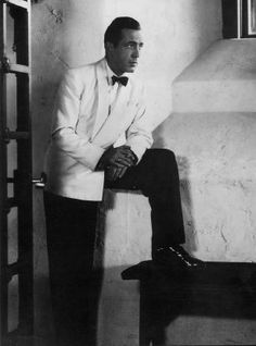"""Hero: Humphrey Bogart as Rick Blaine in """"Casablanca"""" - Warner Bros.) Rick Blaine is ranked on AFI's 100 Heroes and Villains List Saint Yves, Old Hollywood Glamour, Classic Hollywood, Hollywood Style, Vintage Hollywood, White Tuxedo Jacket, Bogie And Bacall, Humphrey Bogart, Actresses"""