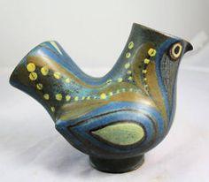 Mid Century Danish Modern Dybdahl Pottery Bird Vase