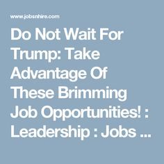 The world is still waiting for the first moves of the new US President Donald Trump, but with the brimming job opportunities, it seems like it is more practical to start applying with your own capacities. Leadership, Opportunity, Waiting, How To Apply, Entertainment, Amp, Entertaining