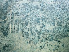 Xavier Deshoulières, Jungle turquoise, 260 x 190 cm, huile sur toile, 2012 – à Galerie Julio Gonzalès, Arceuil.