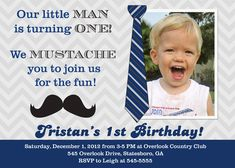 Mustache Little Man 1st Birthday Invitation - Printable