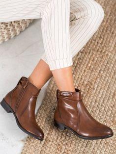 Klasické hnedé členkové topánky Booty, Ankle, Shoes, Fashion, Moda, Swag, Zapatos, Wall Plug, Shoes Outlet