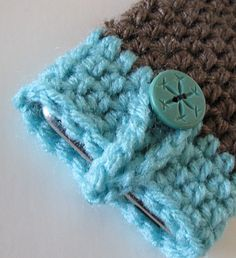 Crochet iPhone iPod Cell Phone Cozy Case or Sock in Taupe and Turquoise