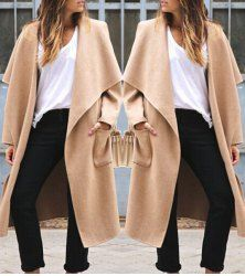 Trendy Turn-Down Neck Long Sleeve Solid Color Loose-Fitting Women's Coat