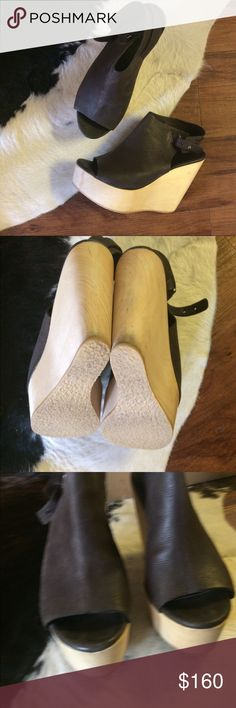 """All Saints wedges 5"""" heels with 1.5"""" platform for comfort. Easy to walk in and perfect for summer! Real wood platform wedges wth genuine leather upper. Some scuffs on wood as shown. True to size 8. Upper is a pretty grayish/black/brown color All Saints Shoes Wedges"""
