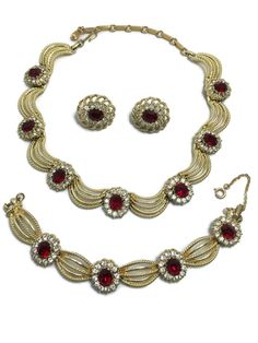 Coro Pegasus Necklace Bracelet Earrings Set Red Clear Rhinestone Signed Parure #Coro