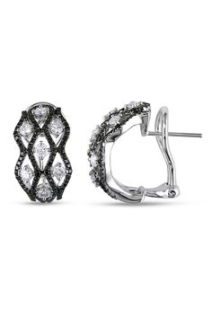 1.625 CT Black And White Diamond Earrings In 18k White Gold