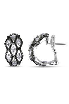 1.625 CT Black And White Diamond Earrings In 18k White Gold