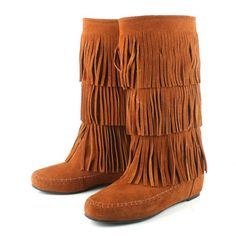 Replica Chanel Brown Fringes Stylish Middle Boots Bag