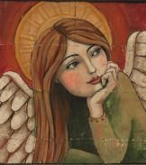 """Peaceful Angel Original Painting by Teresa Kogut.love this painting.the """"look"""" draws you in. Art And Illustration, Illustrations, Angel Drawing, I Believe In Angels, Ange Demon, Art For Sale Online, Angels Among Us, Arte Popular, Guardian Angels"""