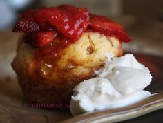 Strawberry Corn Cakes with Brown Sugar Whipped Cream - Bellabits