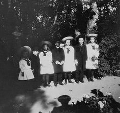 """"""" Olga, Tatiana, Maria and Anastasia with three grandchildren of the Shah of Persia Mozaffar-al-Din in Peterhof, August 1905 August. Tuesday…After breakfast, three princes came to the. Tatiana Romanov, Anastasia Romanov, Romanov Sisters, Grand Duchess Olga, Tsar Nicholas Ii, Flesh And Blood, Imperial Russia, The Empress, Vintage Photographs"""