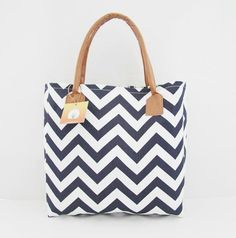The Best Blue  Chevron tote bag. I love this bag!